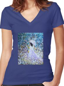 Walk In The Garden Women's Fitted V-Neck T-Shirt