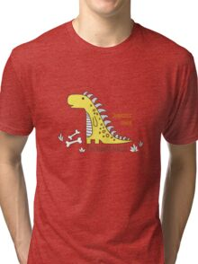 Ornament with dinosaurs, Jurassic Park. Adorable seamless pattern with funny dinosaurs in cartoon Tri-blend T-Shirt