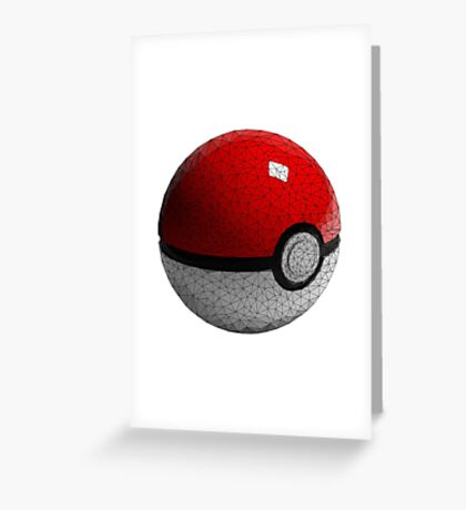 Low Poly Poke Ball Greeting Card