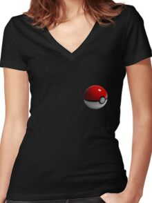Low Poly Poke Ball Women's Fitted V-Neck T-Shirt