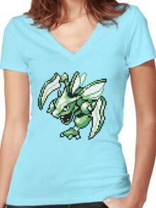 Scyther - Pokemon Red & Blue Women's Fitted V-Neck T-Shirt