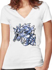 Gyarados - Pokemon Red & Blue Women's Fitted V-Neck T-Shirt