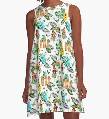 Summer Hawaiian Tiki Bar and Cocktails Design Ukulele Guitar  Hawaii Hula Girl Palm Trees A-Line Dress