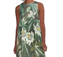 Blue Passion Flower A-Line Dress