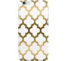 Gold And White Ikat Quatrefoil Geometric Pattern iPhone Case/Skin