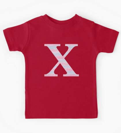 Letter X Blue And Pink Dots And Dashes Monogram Initial Kids Tee