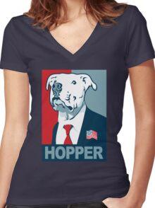 Feel The Hopper (Red White and Hopper) Smaller Print Women's Fitted V-Neck T-Shirt