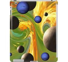 VividScene: Fiery Green-Blue Polkadot Sky with Planets iPad Case/Skin
