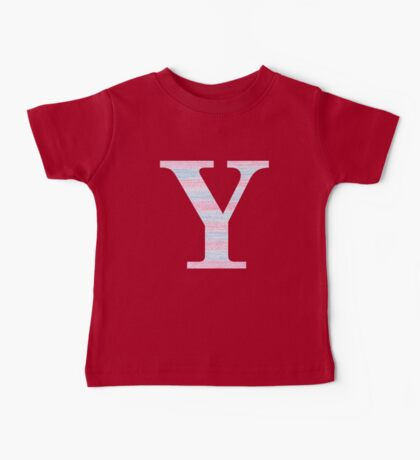 Letter Y Blue And Pink Dots And Dashes Monogram Initial Baby Tee