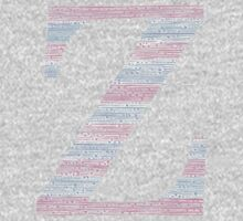 Letter Z Blue And Pink Dots And Dashes Monogram Initial Kids Tee