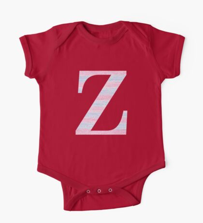 Letter Z Blue And Pink Dots And Dashes Monogram Initial One Piece - Short Sleeve