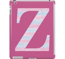 Letter Z Blue And Pink Dots And Dashes Monogram Initial iPad Case/Skin