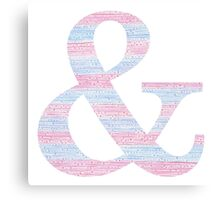 Letter & Ampersand Blue And Pink Dots And Dashes Monogram Initial Canvas Print