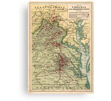 Vintage Virginia Civil War Battlefield Map (1912) Canvas Print
