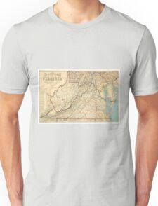 Vintage Map of Virginia (1863) Unisex T-Shirt