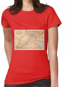 Vintage Map of Virginia (1863) Womens Fitted T-Shirt
