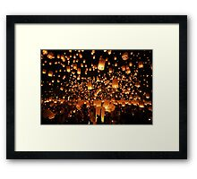 Floating lanterns at Yi Peng festival in Thailand Framed Print