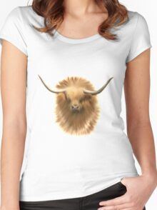 Highland cattle bull Women's Fitted Scoop T-Shirt