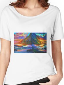 Napali Cliff's Sunset - Diptych Women's Relaxed Fit T-Shirt