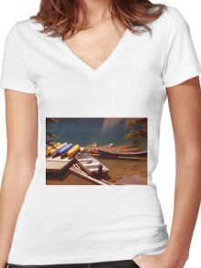 Canoes Docked At Moraine Lake Women's Fitted V-Neck T-Shirt