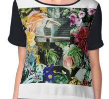 Floral Montage with Toucan  Chiffon Top