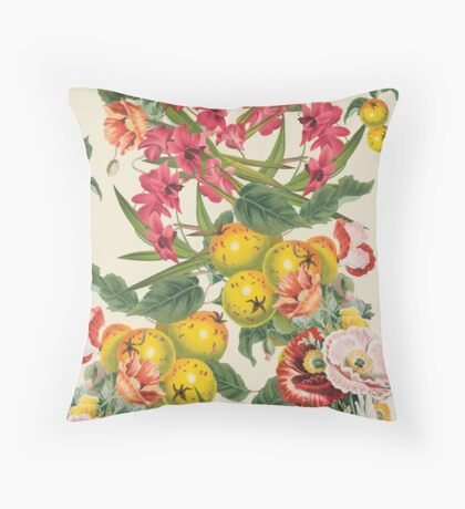 Planting Dreams flower collage Throw Pillow