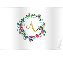 Floral Initial Wreath Monogram A Poster