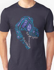 Color Calligram Tyrannosaur Skull Unisex T-Shirt