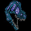 Color Calligram Tyrannosaur Skull by cubelight