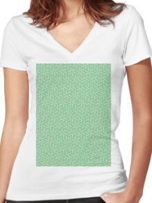 Abstract Green Gold Boxes 560M Women's Fitted V-Neck T-Shirt