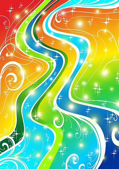 Swirls Festive Bright Abstact Colors by BluedarkArt