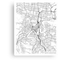 Brisbane Map, Australia - Black and White Canvas Print