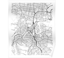 Brisbane Map, Australia - Black and White Poster