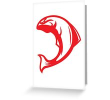 Canadian Salmon (Red/White) - Spor Repor Salmon Greeting Card