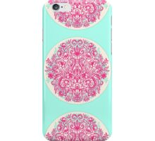 Spring Arrangement - floral doodle in pink & mint iPhone Case/Skin
