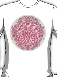 Spring Arrangement - floral doodle in pink & mint T-Shirt