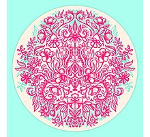 Spring Arrangement - floral doodle in pink & mint Photographic Print