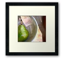 Pear in an Old Pottery Bowl Framed Print