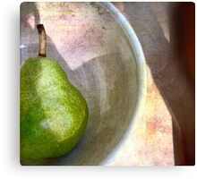 Pear in an Old Pottery Bowl Canvas Print