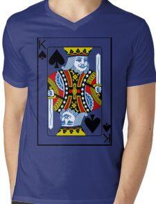 King of Spades Playing card Poker Mens V-Neck T-Shirt