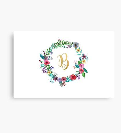 Floral Initial Wreath Monogram B Canvas Print