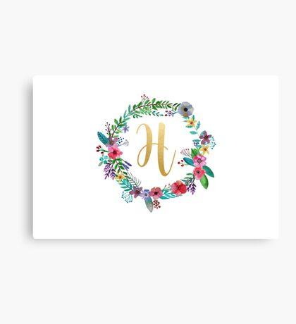 Floral Initial Wreath Monogram H Canvas Print