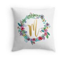 Floral Initial Wreath Monogram M Throw Pillow