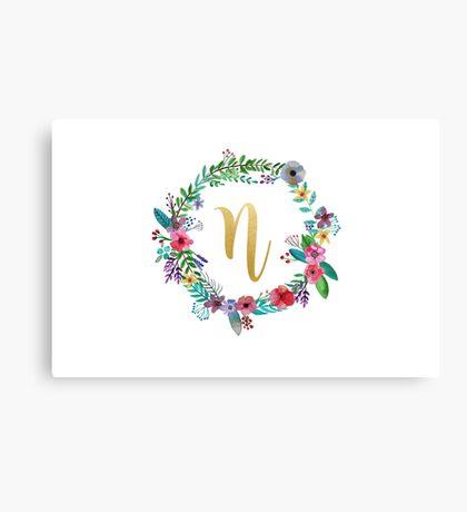 Floral Initial Wreath Monogram N Canvas Print