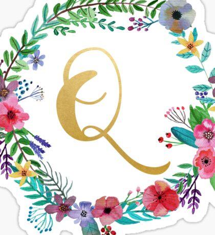 Floral Initial Wreath Monogram Q Sticker