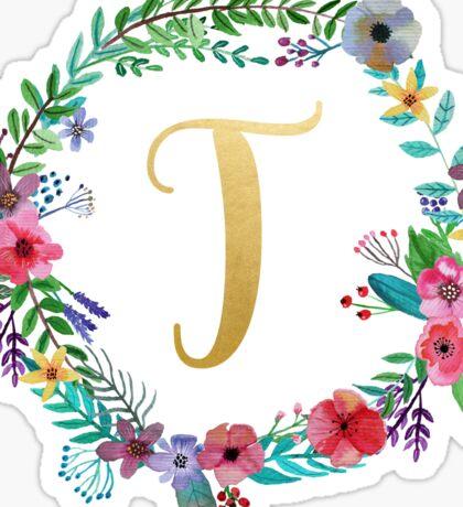 Floral Initial Wreath Monogram T Sticker