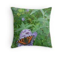 Tortoise shell butterfly Throw Pillow