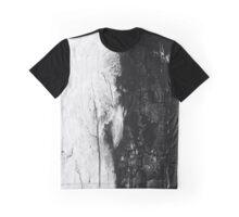 Monochromatic Black and White Wood Bark Graphic T-Shirt