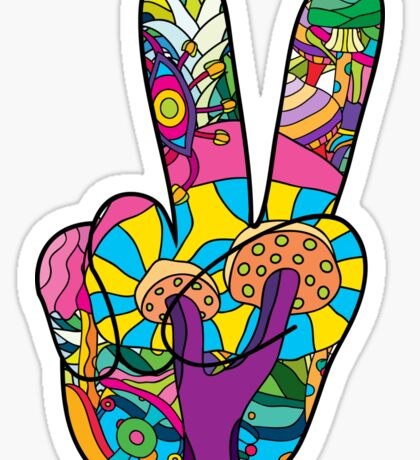 Magic mushroom pattern hippie victory hand  Sticker