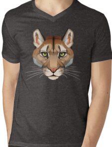 Cougar Face Mens V-Neck T-Shirt